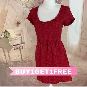 Anthropologie Pins Needles Emboss Red Dress